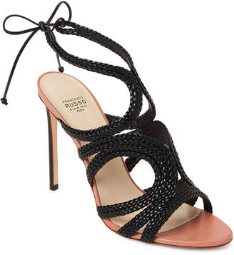 Francesco Russo Black Braided Leather Ankle-Tie Sandals