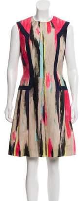 Lela Rose Brush Stroke Print Knee-Length Dress multicolor Brush Stroke Print Knee-Length Dress