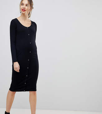 Asos Design Maternity Midi Long Sleeve Bodycon Dress With Popper Front