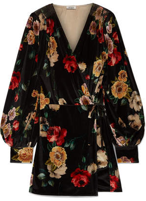 ATTICO Floral-print Velvet Mini Wrap Dress - Black