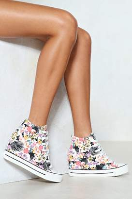 Nasty Gal Rise to the Occasion Tropical High-Top Sneaker