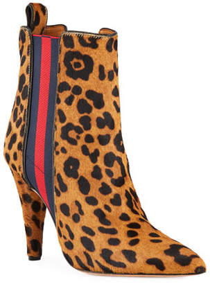Veronica Beard Flynne High-Heel Leopard Booties