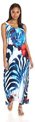 Robbie Bee Women's Watercolor Printed Ity Blouson Maxi