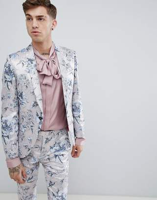 Twisted Tailor super skinny suit jacket in pink metallic floral print
