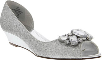 I. MILLER I. Miller Rhoda Glitter Open-Toe Demi-Wedge Pumps $60 thestylecure.com