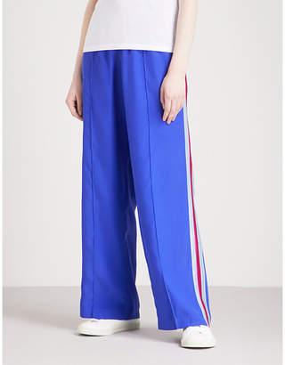 SERENA BUTE LONDON Classic side-stripe silk-crepe jogging bottoms