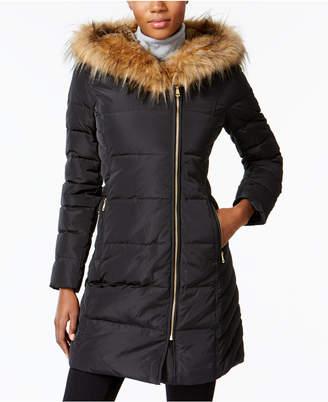 Cole Haan Faux-Fur-Trim Asymmetrical Puffer Coat