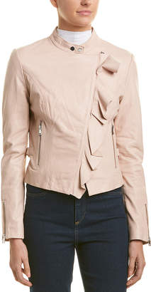 Lamarque Ruffle Leather Jacket