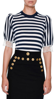 Dolce & Gabbana Striped Lace-Trim Cardigan, Navy/White $1,395 thestylecure.com