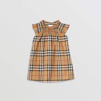 Burberry Smocked Vintage Check Cotton Dress