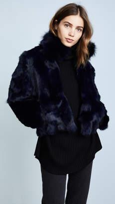 Adrienne Landau Fur Jacket With Fox Collar