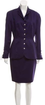 Thierry Mugler Wool Lace-Up Trim Skirt Suit
