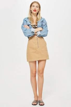Topshop Tan Denim Utility Skirt