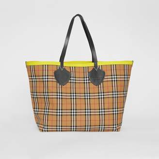 59c67a4a4380 at Burberry · Burberry The Giant Reversible Tote in Vintage Check and  Leather