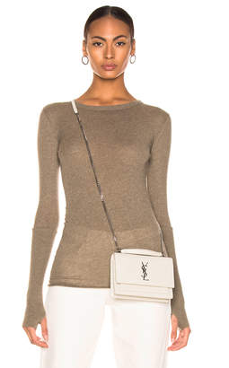 Enza Costa Cashmere Cuffed Crew in Pebble | FWRD