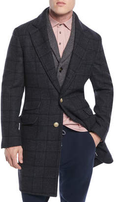 Brunello Cucinelli Men's Plaid Wool Overcoat