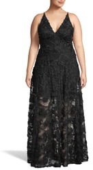 Xscape Evenings 3D Lace V-Neck Evening Dress