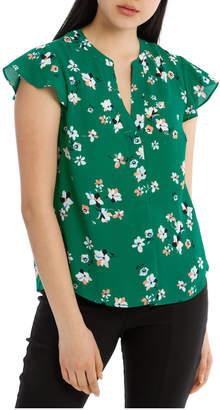 Miss Shop Collarless Flutter Sleeve Top - Green Cut Paper Floral
