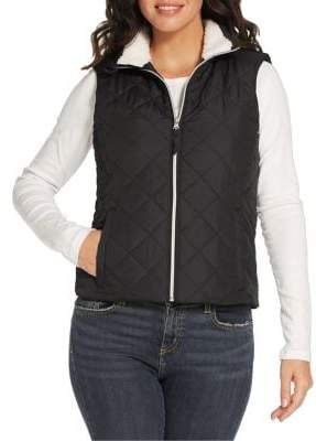 Weatherproof Faux Shearling-Lined Quilted Puffer Vest