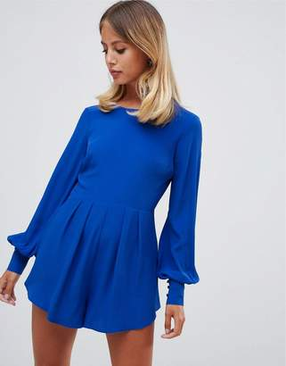 Asos Design DESIGN romper with frill hem