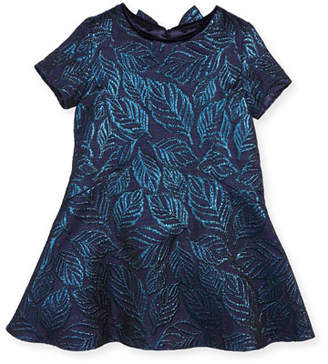 Oscar de la Renta Jacquard Bow-Back Dress, Navy, Size 4-10