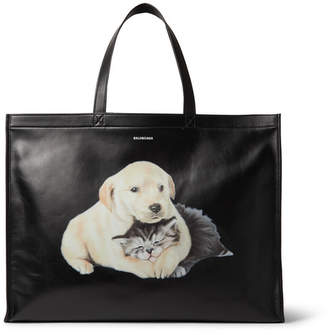 Balenciaga Printed Leather Tote Bag - Men - Black
