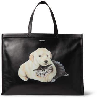 Balenciaga Printed Leather Tote Bag - Black