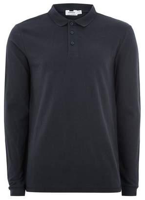 Topman Mens Navy Long Sleeve Skinny Polo