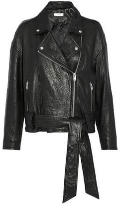 IRO Belted Textured-Leather Biker Jacket