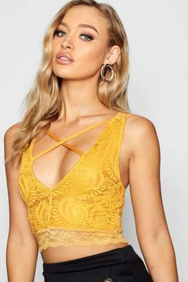 boohoo Lace Cross Strap Bralet