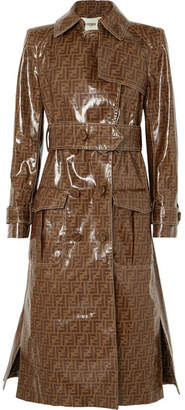 Fendi Printed Vinyl Trench Coat - Brown