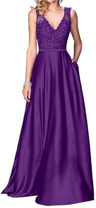 Little Star Long Prom Dresses 2018 for Women V Neck Satin Formal Evening Gowns A Line Bridesmaid Dress Party Ball Gown with Lace