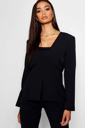 boohoo Covered Button Detail Blazer