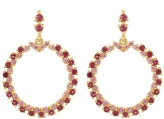 Ruta Reifen Pink Sapphire and Rhodolite Show Love Hoop Earrings - Yellow Gold