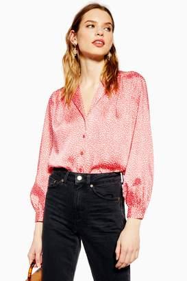 Topshop Womens Animal Spot Shirt - Black