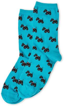 Hot Sox Turquoise Scottie Dog Socks