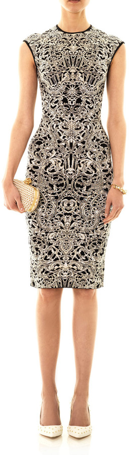 Alexander McQueen Lace intarsia-knit dress