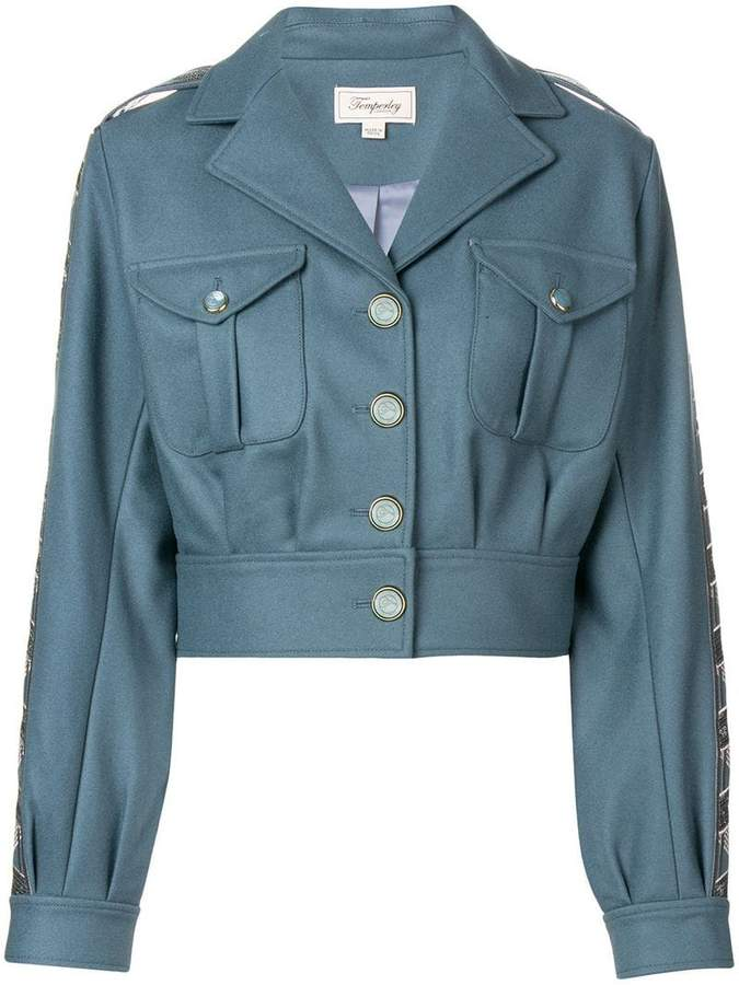 Medal cropped military jacket