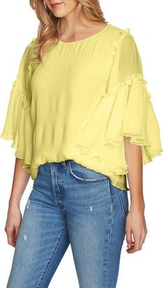 1 STATE 1.STATE Flounce Sleeve Pleated Blouse