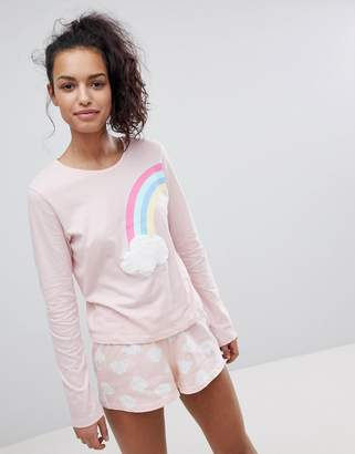 Asos DESIGN Rainbow Cloud Long Sleeve Tee and Short Jersey Pajama Set