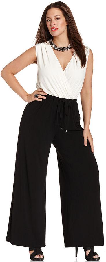 Spense Plus Size Jumpsuit, Sleeveless Drawstring Wide-Leg