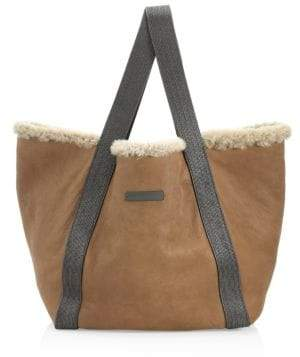 Brunello Cucinelli Shearling-Lined Leather Tote Bag