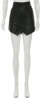 Mason Asymmetrical Leather Mini Skirt