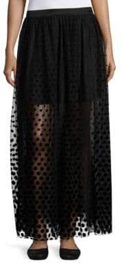 Free People Lace-Trim and Velvet Dot Tulle Long Skirt