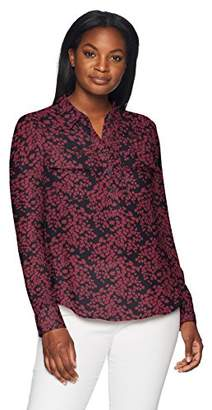 Lark & Ro Women's Long Sleeve Sheer Utility Blouse