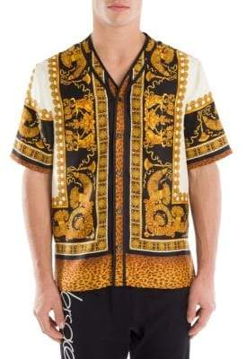 Versace Baroque Leopard Silk Button-Down Shirt