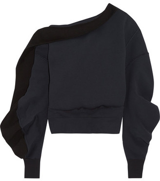 Burberry - Asymmetric Off-the-shoulder Cotton-blend Sweatshirt - Navy $725 thestylecure.com