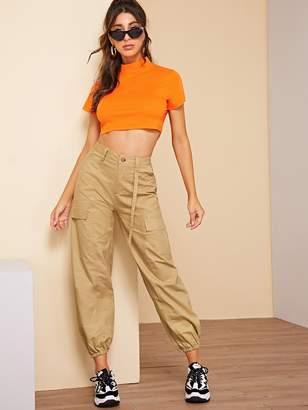 Shein Neon Orange Crop Tee & Jogger Pants