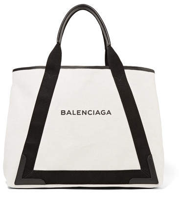 Balenciaga  Balenciaga - Cabas Leather-trimmed Canvas Tote - Black
