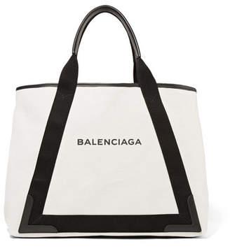 Balenciaga - Cabas Leather-trimmed Canvas Tote - Black $1,050 thestylecure.com